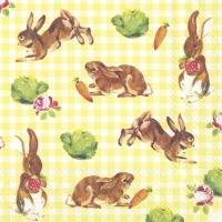 Servietten 33x33 cm - Kleine Hasen gelb