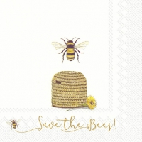 Servietten 33x33 cm - SAVE THE BEES! white
