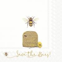 Servietten 33x33 cm - Rette die Bienen! weiß