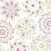 Servietten 33x33 cm - LILLY weiß weiß rosa