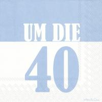 Servietten 33x33 cm - UM DIE 40 light blue
