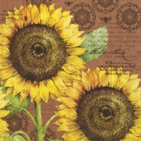 Servietten 33x33 cm - BOTANICAL SUNFLOWER ligh.brown