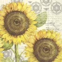 Servietten 33x33 cm - BOTANICAL SUNFLOWER cream