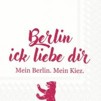 Servietten 33x33 cm - BERLIN ICK LIEBE DIR red