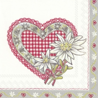 Servietten 33x33 cm - LOVELY EDELWEISS red