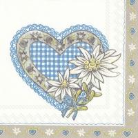 Servietten 33x33 cm - LOVELY EDELWEISS blau