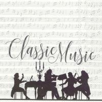 Servietten 33x33 cm - CLASSIC MUSIC Weißsilber