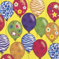 Servietten 33x33 cm - PARTY BALLONS gelb