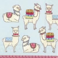 Lunch Servietten Happy Lamas light blue