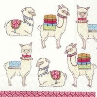 Servietten 33x33 cm - Happy Lamas weiß