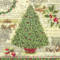 Servietten 33x33 cm - CHRISTMAS TRADITION cr. green