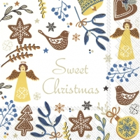 Servietten 33x33 cm - SWEET CHRISTMAS weiß