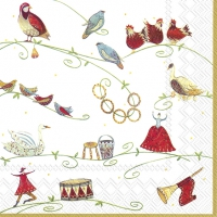 Servietten 33x33 cm - 12 DAYS OF CHRISTMAS wh. gold
