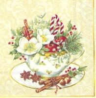 Servietten 33x33 cm - Tasse Weihnachtscreme
