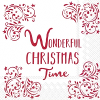 Servietten 33x33 cm - WONDERFUL CHRISTMAS TIME w.red