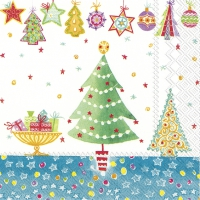 Servietten 33x33 cm - CHEERY CHRISTMAS blue