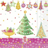 Servietten 33x33 cm - CHEERY CHRISTMAS pink