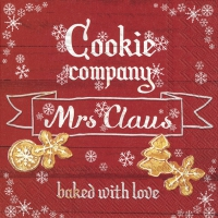 Servietten 33x33 cm - COOKIE COMPANY red