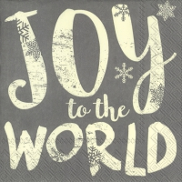 Servietten 33x33 cm - JOY TO THE WORLD grey
