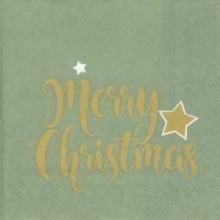 Servietten 33x33 cm - SHINY MERRY CHRISTMAS celadon