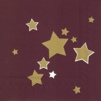 Servietten 33x33 cm - SHINY STARS bordeaux