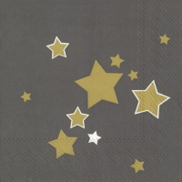 Servietten 33x33 cm - SHINY STARS grey