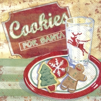 Servietten 33x33 cm - COOKIES FOR SANTA