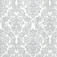 Servietten 33x33 cm - PALAIS white silver