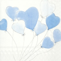 Servietten 33x33 cm - LOVE IS IN THE AIR light blue