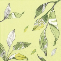 Servietten 33x33 cm - LEAVES light green