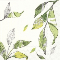 Servietten 33x33 cm - LEAVES white