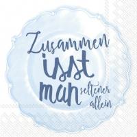 Servietten 33x33 cm - ZUSAMMEN ISST MAN ... li. blue