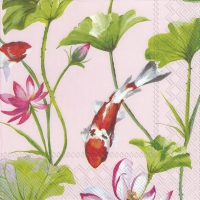Servietten 33x33 cm - KOI AND WATERLILY Lichtrose