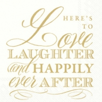 Servietten 33x33 cm - LOVE LAUGHTER gold