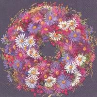 Servietten 33x33 cm - COURONNE DE FLEURS purple