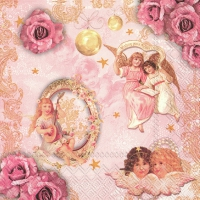 Servietten 33x33 cm - ROMANTIC ANGELS rose