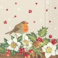 Servietten 33x33 cm - WELCOME RED ROBIN linen