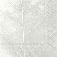 Servietten 33x33 cm - THE LEAF white silver