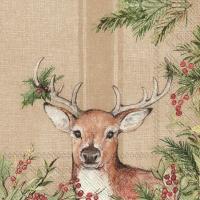 Servietten 33x33 cm - CHRISTMAS DEER light brown