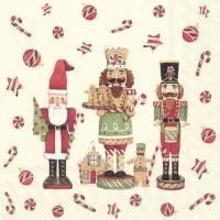 Servietten 33x33 cm - FRIENDLY CHRISTMAS TOY cream