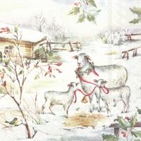 Servietten 33x33 cm - SHEEPS IN THE SNOW