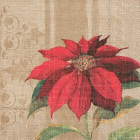 Servietten 33x33 cm - CHRISTMAS BLOSSOM light brown