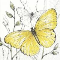 Servietten 33x33 cm - COLOURFUL BUTTERFLIES yellow