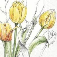 Servietten 33x33 cm - COLOURFUL TULIPS yellow