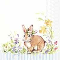 Servietten 33x33 cm - LOVELY BUNNY light blue