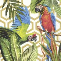 Servietten 33x33 cm - TROPICAL PARROTS gold