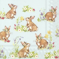 Servietten 33x33 cm - SWEET LOVELY BUNNIES li. blue