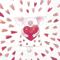Servietten 33x33 cm - PIGGY LOVE