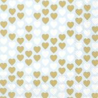 Servietten 33x33 cm - LOVELY LITTLE HEARTS li. blue