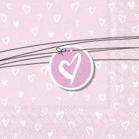 Servietten 33x33 cm - HEARTS FOR LOVE light rose